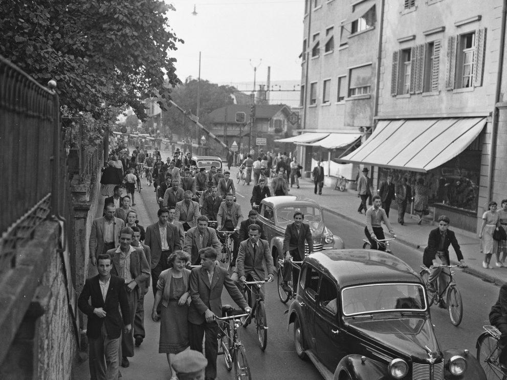Schweizer Geschichte: Mittagszeit in Baden um 1955